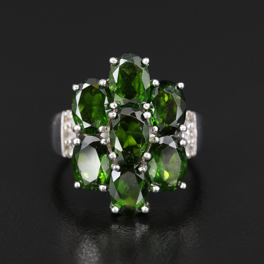 Sterling Diopside and Topaz Cluster Ring