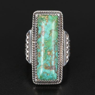 Southwestern Signed Sterling Turquoise Pointer Ring
