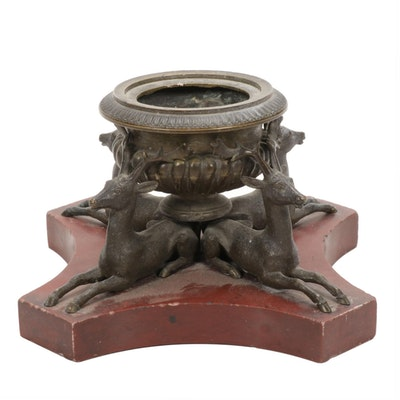 Bronze Censer with Deer Motif on Red Marble Base