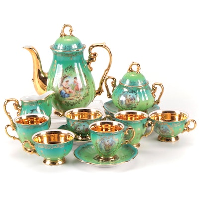 P.M.B. Royal Bavarian Gilt Dresden Style Porcelain Tea Set, Mid-20th Century