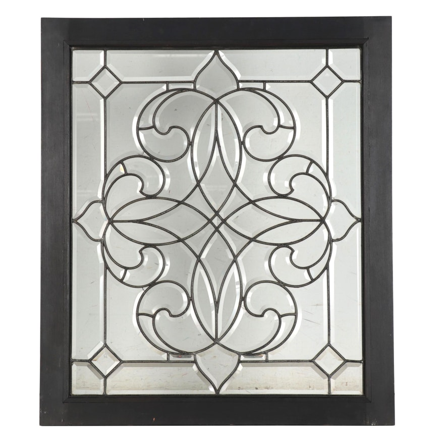 Framed Leaded Glass Window Panel, circa 2000