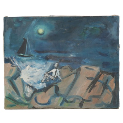 Folk Art Oil Painting of Figure by Moonlit Oceanscape