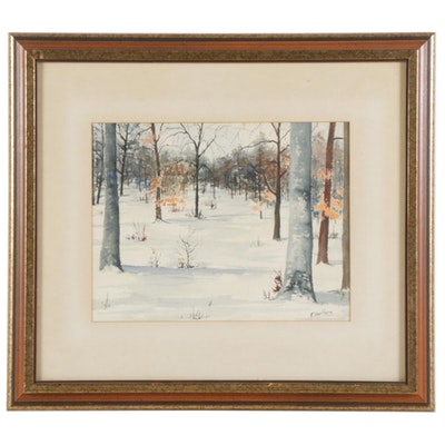"Frank Van Holte Watercolor Painting ""Early Snow,"" 1972"