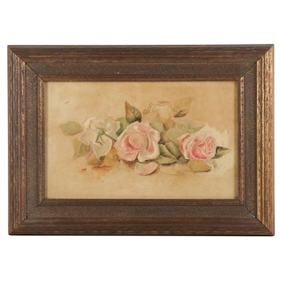 Still Life Watercolor Painting of Roses