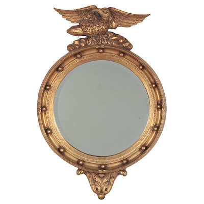 Federal Style Giltwood Round Wall Mirror, Early to Mid 20th Century