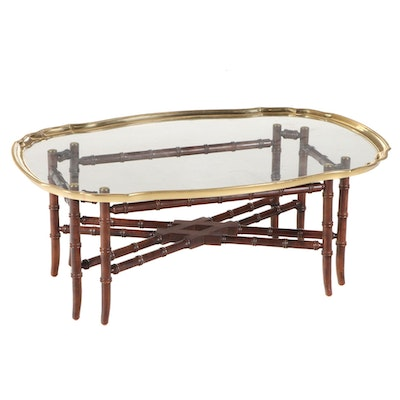 Brass and Glass Top Bamboo-Turned Wood Coffee Table, Late 20th Century
