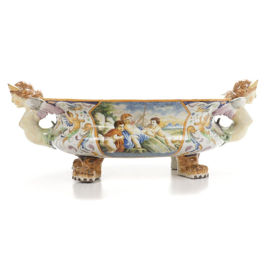 Italian Majolica Centerpiece Bowl Repaired and Repainted by Emerson Burkhart