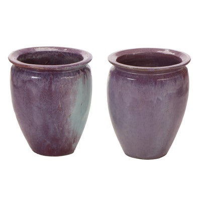 Outdoor Earthenware Drip Glaze Garden Urns