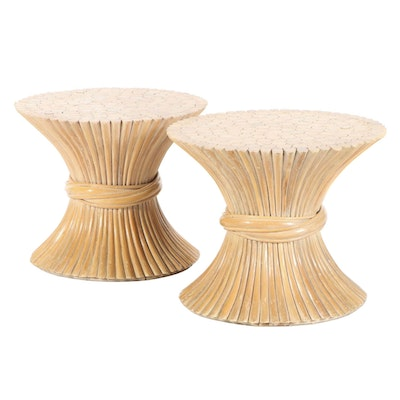 Pair of Bundled Reed Occasional Tables