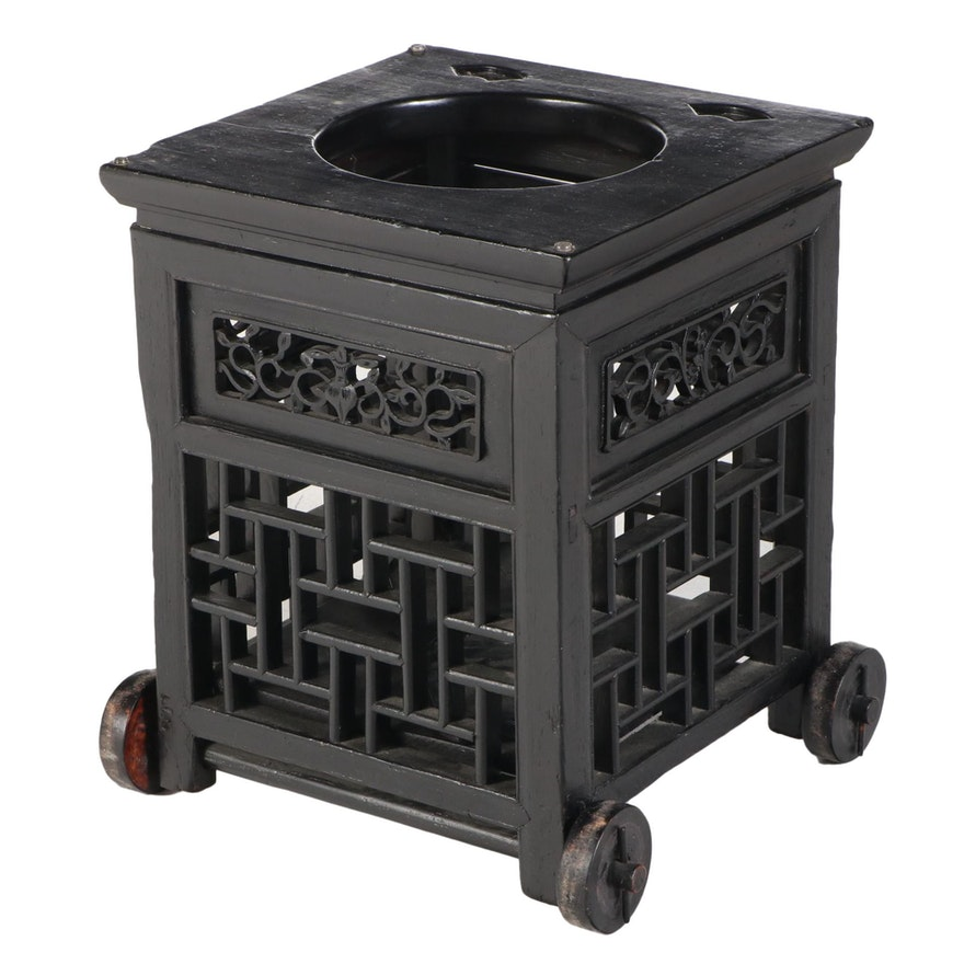 Chinese Ebonized Child's Chair/End Table Base on Wooden Wheels