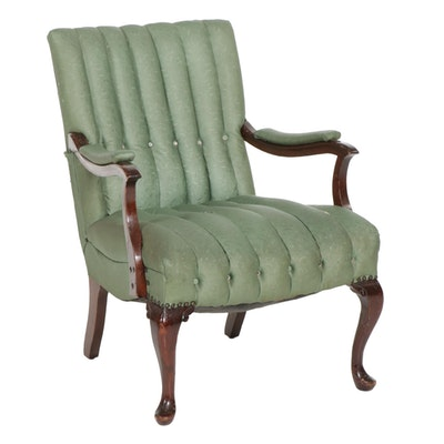 Queen Anne Style Channel Tufted Open Armchair, Mid-20th Century