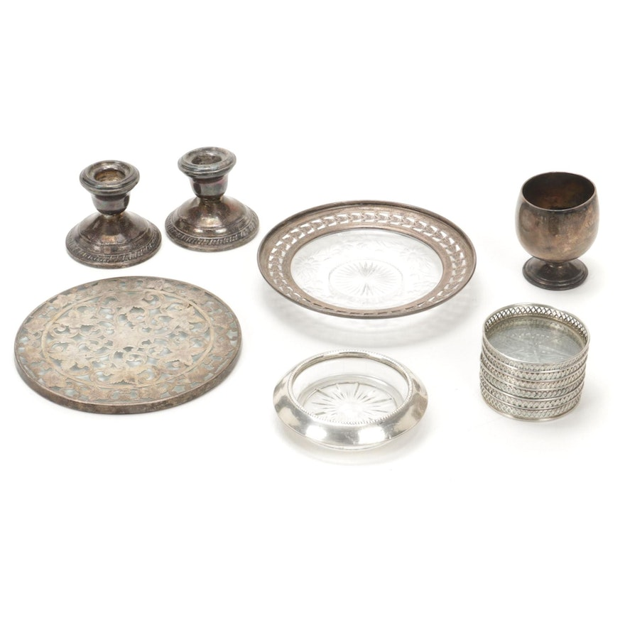 Webster Sterling Trivet with Other Glass and Sterling Silver Tableware