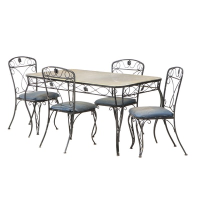 Scrolled Metal 5-Piece Patio Dining Set, Late 20th Century