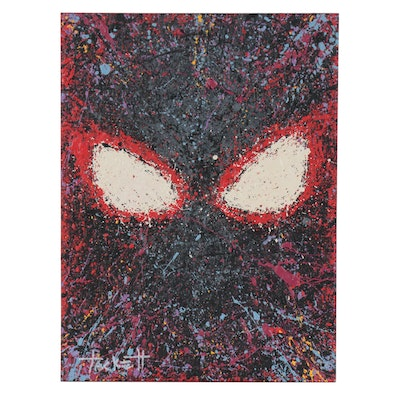 "Billy Tackett ""Miles Morales Spiderman"" Abstract Acrylic Painting"