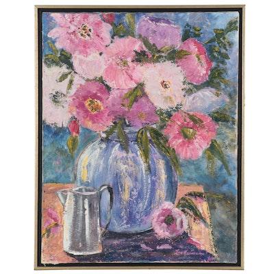 Liz Neumann Floral Still Life Acrylic Painting, 2002