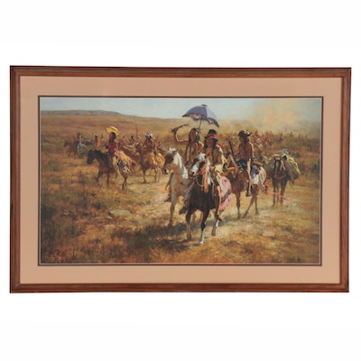 "Howard Terpning Offset Lithograph ""Comanche Spoilers,"" Late 20th Century"