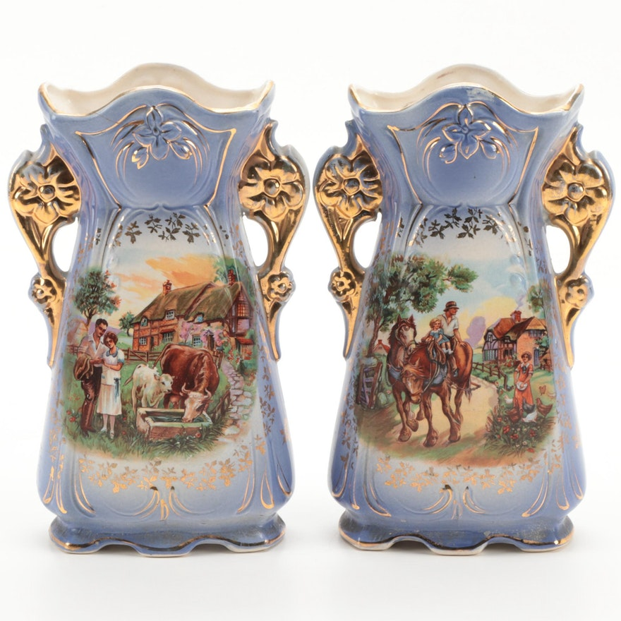 Pair of English Gilt Accented Mantel Vases,  Early to Mid 20th Century