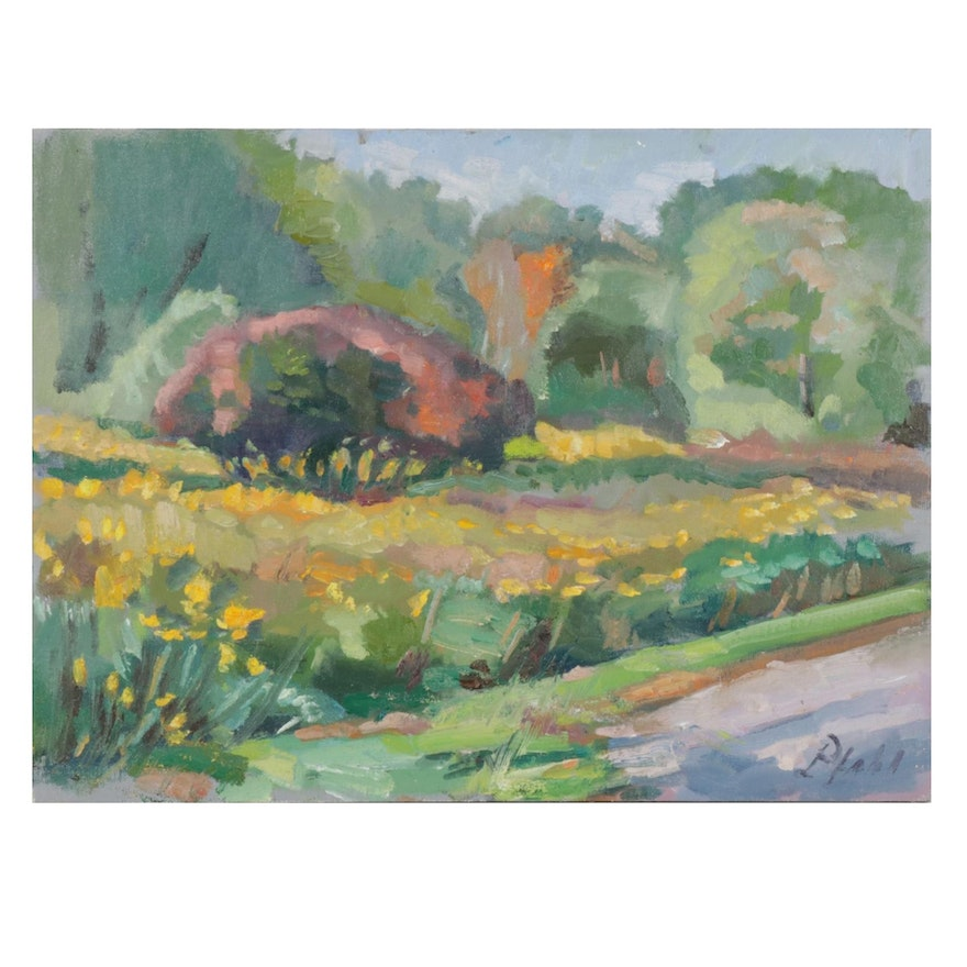 "William Pfahl Oil Painting ""Goldenrod Path, Beechwood Audubon, Fox Chapel, PA"""