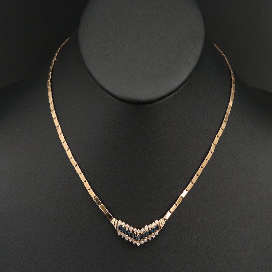 14K Sapphire and Diamond Chevron Necklace