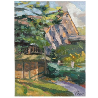 "William Pfahl Oil Painting ""Beechwood Farms - Cedar Barn,"" 2020"