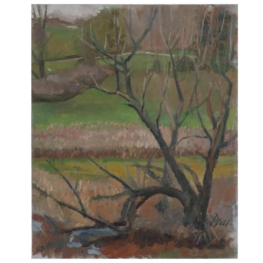 "William Pfahl Oil Painting ""Marsh Willow - Glade Run,"" 2018"