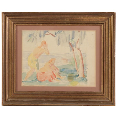 Emerson Burkhart Watercolor Painting Study of Figures, 1930