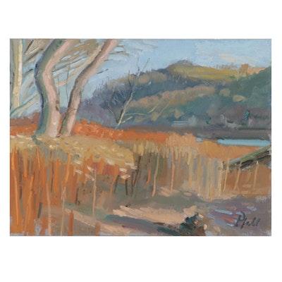 "William Pfahl Oil Painting ""Chapel Harbor, Allegheny River, Fox Chapel, PA"""