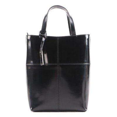 Gucci Black Patent Leather Top Handle Tote
