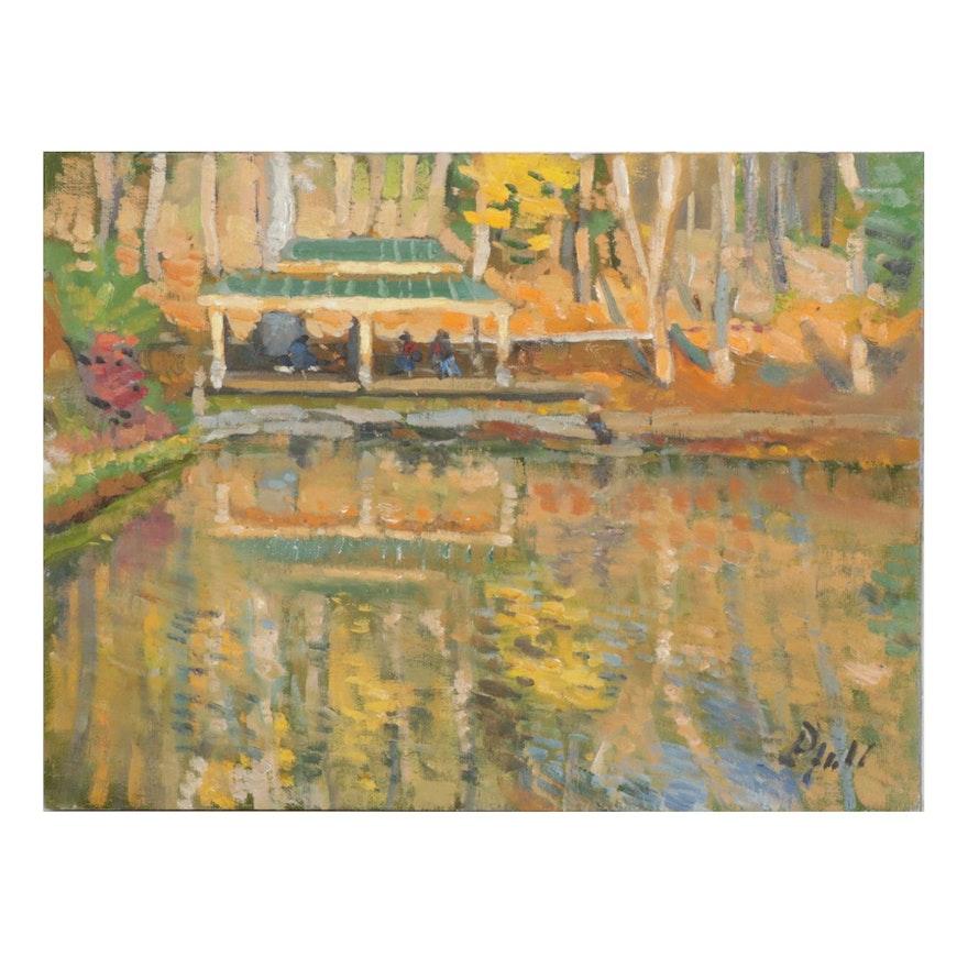 "William Pfahl Oil Painting ""Fall Light,"" 2020"