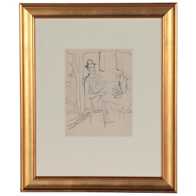 Edgar Yaeger Graphite Drawing of Seated Figure Reading, Late 20th Century