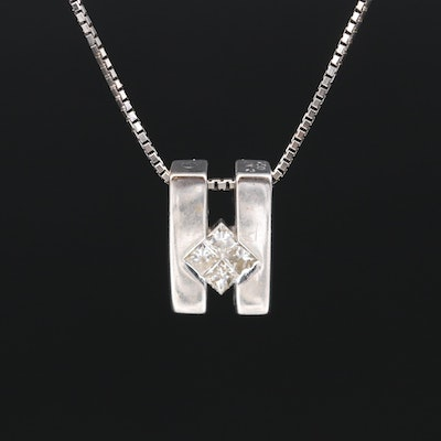 18K Diamond Pendant on Italian 14K Chain