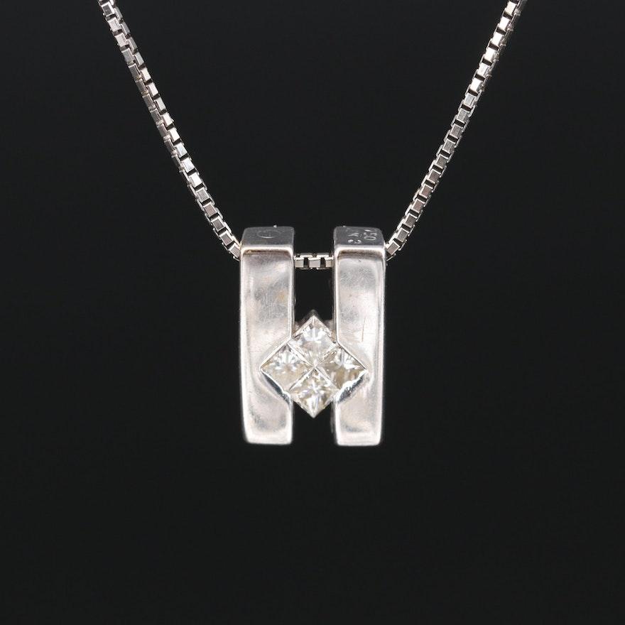 18K Diamond Pendant on Italian 14K Chain