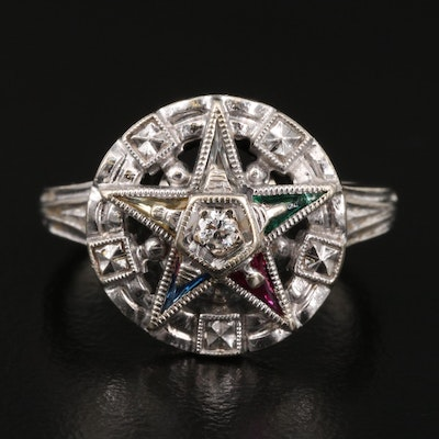 Vintage 14K Diamond and Gemstone Order of the Eastern Star Ring