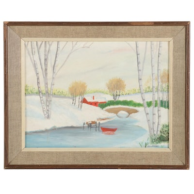 Landscape Oil Painting of Snowy River Bridge