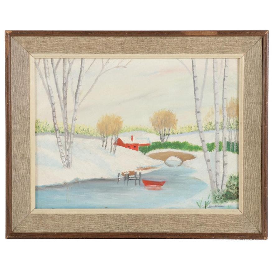 Landscape Oil Painting of Snowy River Bridge