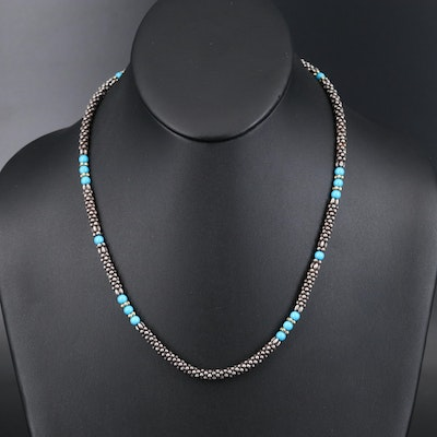 Sterling Turquoise Beaded Necklace