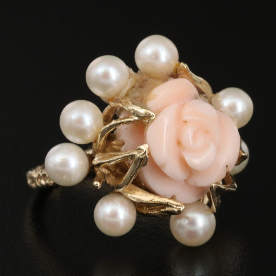 Vintage 14K Angel Skin Coral and Pearl Flower Ring