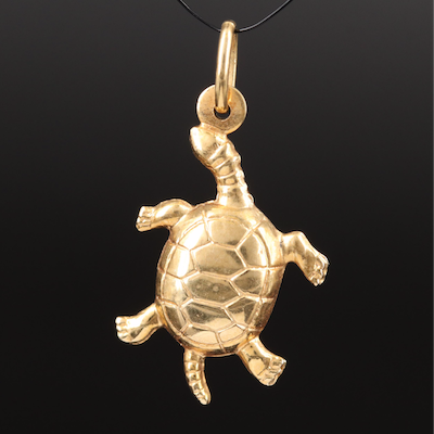 Italian 14K Articulated Turtle Charm