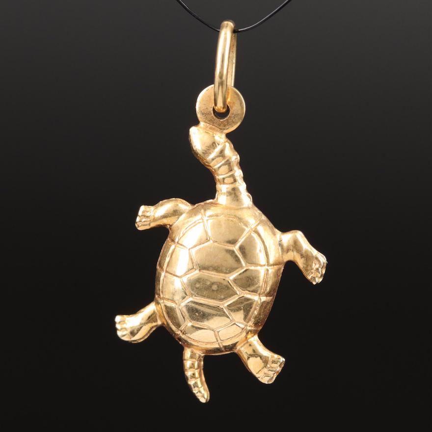 Italian 14K Articulated Turtle Charm