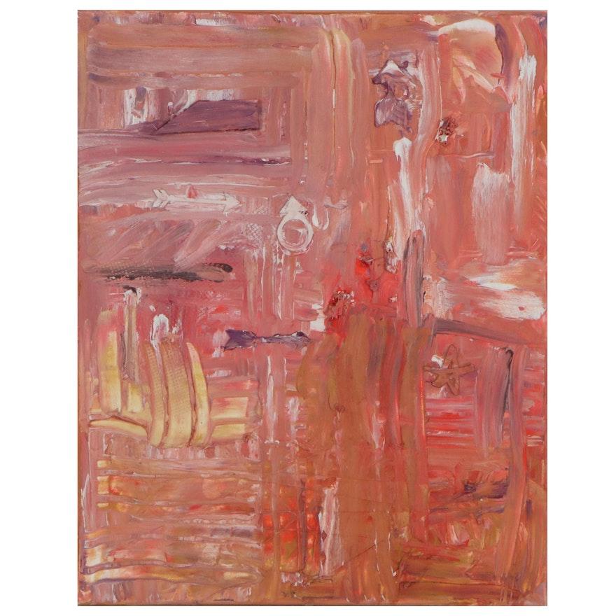 Elaine Neumann Abstract Oil Painting with Wax, 2019