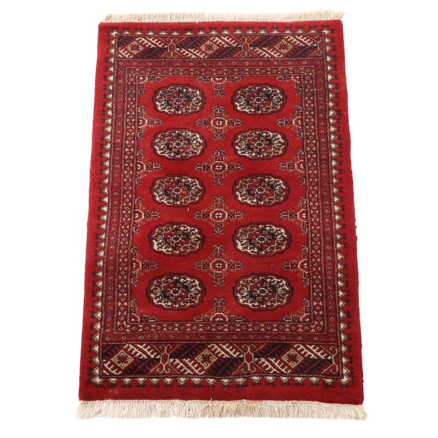 3'2 x 5'6 Hand-Knotted Pakistani Bokhara Wool Area Rug