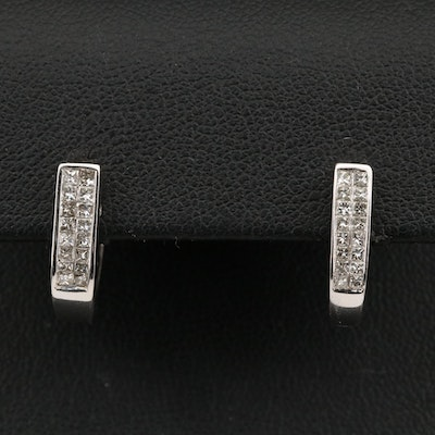 14K Princess Cut Diamond J-Hoop Earrings