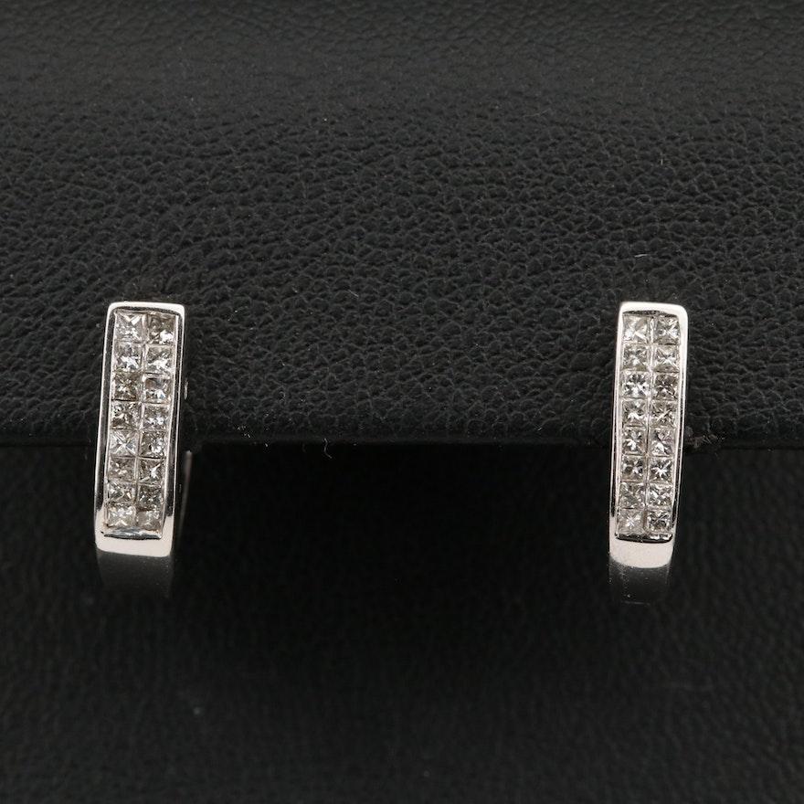 14K Princess Cut Diamond J-Hoop Earrings