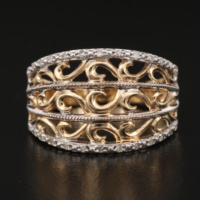 10K Diamond Openwork Tapered Band