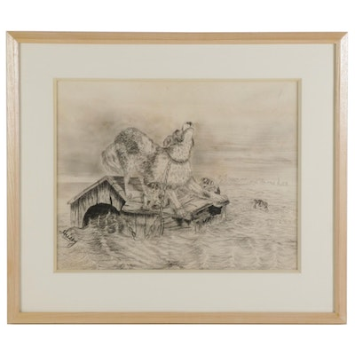Charcoal Drawing of Dogs Stranded in Flood, Mid-Late 20th Century