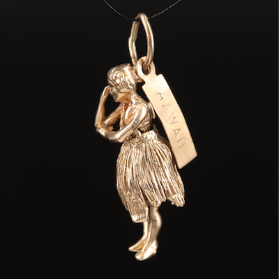 14K Hawaiian Articulated Hula Dancer Charm