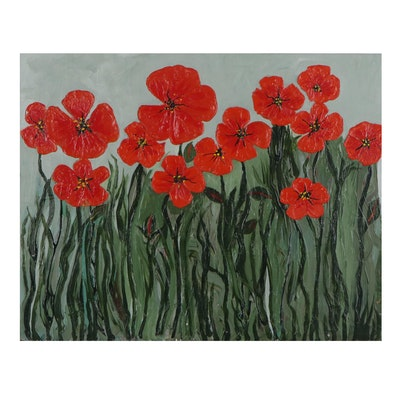 Elaine Neumann Impasto Oil Painting of Poppies, 21st Century