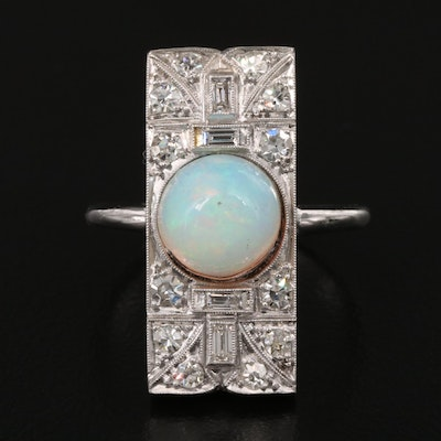 Art Deco Platinum Opal and Diamond Top Ring with 14K Shank