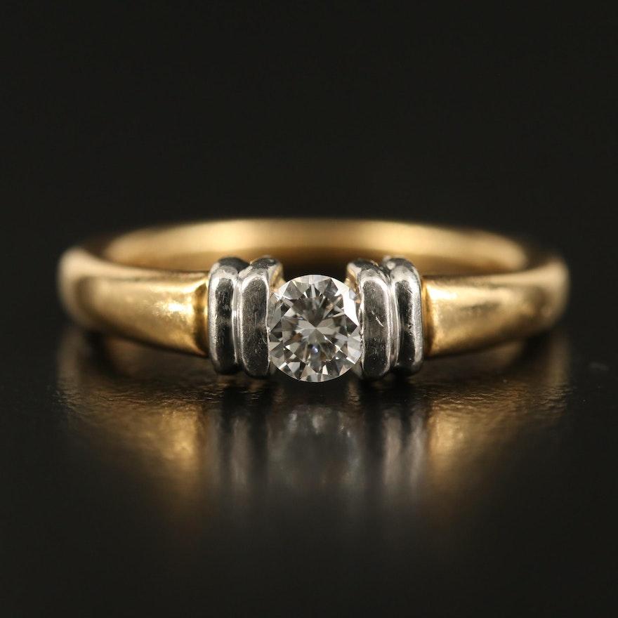 18K Diamond Ring with Platinum Setting