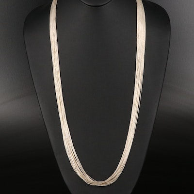 Thirty Strand Liquid Silver Necklace